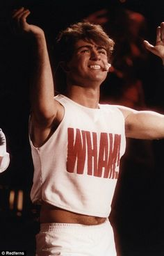 Pictured, George Michael while performing with Wham!