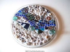 Stained Glass Mosaic Plate Mixed Media Blue by earthmothermosaics, $110.00