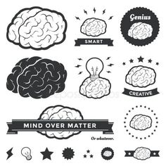 vector illustration of brain designs & badges. these are iconic representations of creativity ideas inspiration intelligence thoughts strategy memory innovation education & learning. Brain Illustration, Free Vector Illustration, Free Illustrations, Graphic Design Illustration, Vector Design, Vector Art, Logo Design, Vector Stock, Flat Design