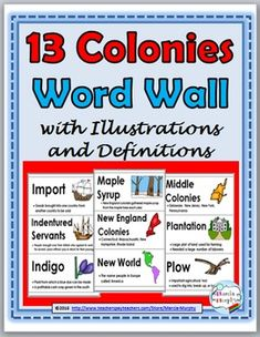 13 Colonies - Colonial Life Word Wall with Illustrations and Definitions