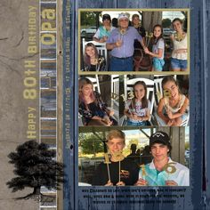 This 80th celebration between a grandfather and his grandchildren was scrapbooked using the Rugged Wood, Concrete and Burlap Digital Paper Collection from Baer Design Studio. #digitalscrapbooking #digitalpaper #wooddigitalpaper #brickdigitalpaper #papercrafting