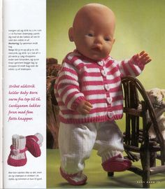 Albumarkiv Baby Born Clothes, Preemie Clothes, Knitting Dolls Clothes, Crochet Doll Clothes, Girl Doll Clothes, Doll Clothes Patterns, Girl Dolls, Knitted Doll Patterns, Knitted Dolls