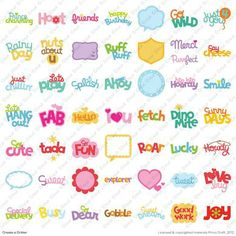 Cricut® Create a Critter Cartridge phrases