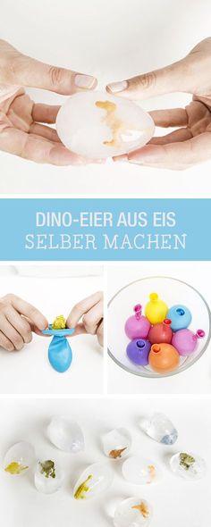 DIY-Anleitung: Dino-Eier aus Eis selber machen, besondere Eiswürfel für den Kindergeburtstag / DIY tutorial: making dinosaur eggs made of ice, special ice cubes for children's birthday party via DaWanda.com