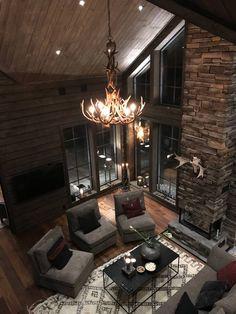 Chalet Design, House Design, Chalet Interior, Interior Design, Log Cabin Living, Living Room Styles, Winter House, Winter Cabin, Cottage Interiors