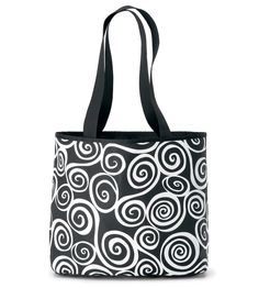 Stylish tote with eye-catching black & white swirly patterns