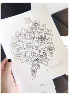 Tatoo Floral, Floral Tattoo Design, Mandala Tattoo Design, Flower Tattoo Designs, Mandala Art, Mandala Rose, Neue Tattoos, Body Art Tattoos, Sleeve Tattoos
