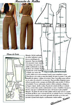 Sewing Dress Costura e Modelagem Sewing Pants, Sewing Clothes, Diy Clothes, Jumpsuit Pattern, Pants Pattern, Pattern Dress, Dress Sewing Patterns, Clothing Patterns, Fashion Sewing