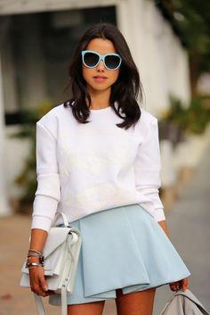 White sweatshirt with blue skirt