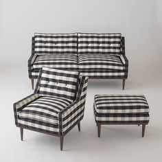 Jack Loveseat - Windowpane Plaid by Schoolhouse Electric. Plaid Couch, Plaid Chair, Home Furniture, Furniture Design, Business Furniture, Furniture Ideas, Outdoor Furniture, Custom Furniture, Bedroom Furniture