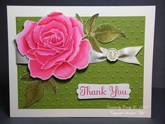 "handmade card ... olive green with hot pink rose ... from original blogger: ""I heat embossed the rose with clear EP on Shimmery White cardstock and colored with Classic ink and blender pens ..."" gorgeous flower!! ... Stampin' Up!"