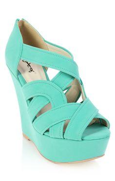 Deb Shops #mint peep toe wedge with cutouts