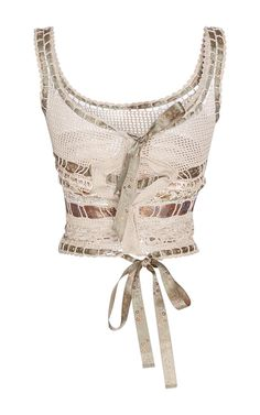 This knit **Etro** tank is crocheted by hand and features a scoop neck and woven ribbon details.