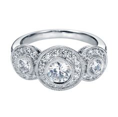 14K White Gold Victorian Halo Engagement Ring    Style ER4092W44JJ