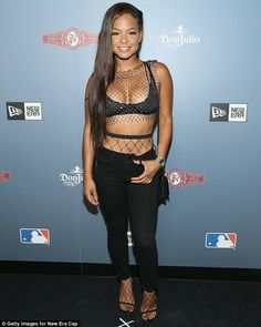 Lady in black: Christina Milian donned a fishnet bralette top Sunday for a MLB All-Star party in Miami Beach, Florida Christina Milian, Dope Swag Outfits, Inka, Bralette Tops, Hot Brunette, Christen, Beautiful Black Women, Beauty Women, Sexy Women