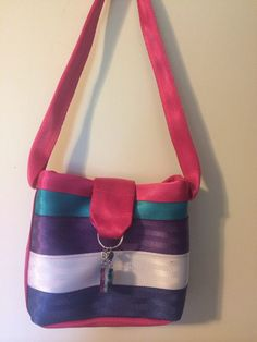 Small seat belt purse in multi colors with by AuntSandysSewing