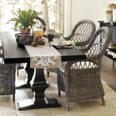 R- can Roomers make a trestle table like this?  That way we can choose the exact length we want and color of wood.  Chianni Trestle Table   Ballard Designs