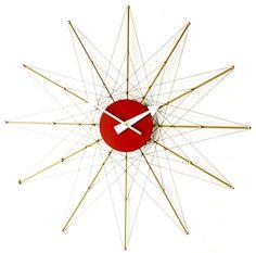 Great vintage starburst clock, midcentury