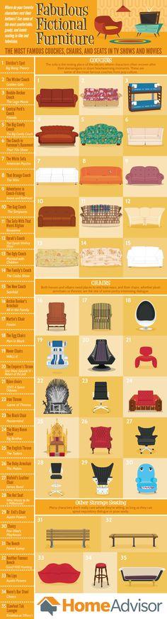 Fabulous Fictional Furniture #Infographic #Entertainment #Furniture