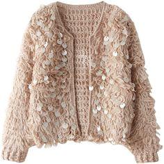 Pink Round Neck Fluffy Waffle Knit Crop Cardigan With Sequin Embellishment Sequin Cardigan, Brown Cardigan, Cropped Cardigan, Poncho Sweater, Embellished Top, Sequin Top, Crochet Coat, Vest Coat, Knitting Wool