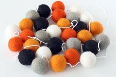 Halloween Garland Orange Grey and Black Felt Ball Garland