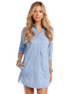 c80fcf5b3c Blue Cotton Beach Cover Up - Pisces Vagabond Shirt