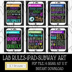INSTANT DOWNLOAD, Computer Lab Rules, iPad Art, Technology Rules, Subway Rules, JCTDesignz, computer lab, rules sign, Subway Art Rules by JCTDesignz on Etsy Source by jctdesignz Computer Lab Rules, Computer Lab Decor, Computer Lessons, Computer Science, Computer Classroom Decor, Teaching Computers, Teaching Technology, Digital Technology, New Technology