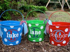 Personalized Easter Bucket 10 QT assorted colors by twosisters76, $28.00 - cute to hold toys in too