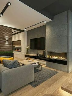 Mode Luxury Lounge/living Room With Wall Mounted To And Ribbon Fireplace