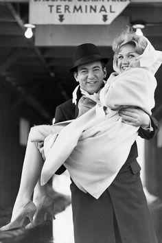 """ Bobby Darin carrying girlfriend Sandra Dee, 1960. """
