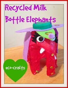 Eco Craft: Milk Bottle Elephants - Baby Budgeting #ecocrafts #recycledcrafts