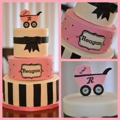 pink, black & white baby shower cake