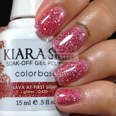 quenalbertini: Kiara Sky Glitter Gel Polish - Lava at First Sight Gel Nail Varnish, Glitter Gel Polish, Gel Polish Colors, Shellac Colors, Kiara Sky Gel Polish, Gel Nail Extensions, Sky Nails, Dipped Nails, Artificial Nails