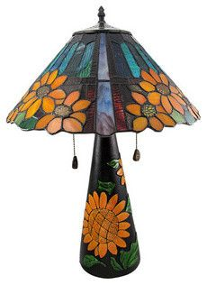 Limited Edition Stained Glass Sunflower Table Lamp 23 Inches Tall - Contemporary - Table Lamps - by Things2Die4