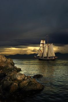 A New Zealand tall ship leaves Victoria Harbour off Vancouver Island heading into the sunset ~ photo by Jason van der Valk.sail away sail Tall Ships, Victoria Harbour, Pirate Life, Sail Away, Belle Photo, Beautiful World, Beautiful Sky, Sailing Ships, Scenery