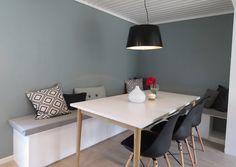 Sittebenk til kjøkkenet - slik lager du din egen - Enkel Fornyelse - Butinox Dinner With Friends, Hemnes, Kitchen Interior, Dining Table, Indoor, Ikea, Wood, Inspiration, Furniture