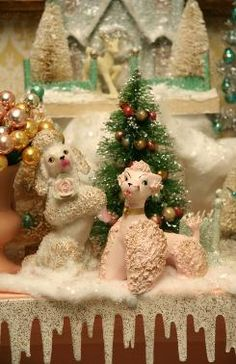 Vintage Bottle Brush Christmas Trees and 1950s Poodles too!