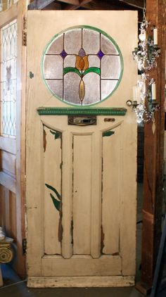 Antique Tudor Door with Round Stained Glass Window, Early - Preservation Station, Nashville, TN Stained Glass Door, Stained Glass Panels, Stained Glass Projects, Stained Glass Patterns, House Front Door, Glass Front Door, Antique Doors, Old Doors, Front Doors With Windows