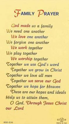 Family Prayer: this is my hope and this is my prayer for our family. Prayer Scriptures, Bible Prayers, Faith Prayer, Catholic Prayers, Prayer Quotes, My Prayer, Spiritual Quotes, Bible Quotes, Bible Verses