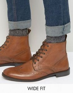 0f71b4c3c78c ASOS Wide Fit Brogue Boots in Tan Leather Tan Leather