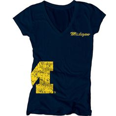 Michigan Wolverines Women's Navy Cossett Mascot Deep V-Neck Tee