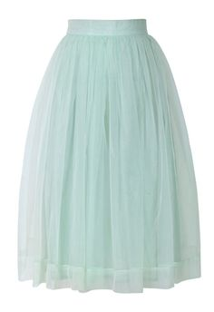 Mint Organza Midi Skirt