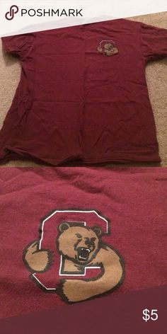Cornell Bears Tee Maroon t-shirt with Cornell logo on chest. Tops Tees - Short Sleeve