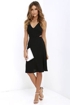 River Boat Black Midi Dress at Lulus.com!