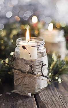Inspiration Lane - I love the way that they use birch bark to wrap these Mason jars for candlelight