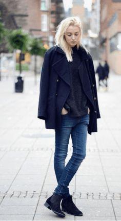 dark blue pea coat, black turtleneck sweater, dark blue skinny jeans, dark blue suede chelsea boots for women - - Chelsea Boots Outfit, Chelsea Boots Damen, Suede Chelsea Boots, Fashion Mode, Look Fashion, Fashion Outfits, Street Fashion, Fashion Edgy, Fashion Boots