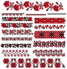 Free cross stitch borders in red and black Cross Stitch Borders, Crochet Borders, Cross Stitch Flowers, Cross Stitch Designs, Cross Stitching, Cross Stitch Embroidery, Hand Embroidery, Cross Stitch Patterns, Loom Patterns