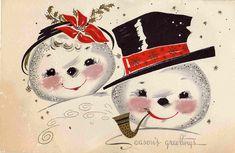 vintage snowmen christmas card