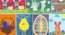 """Zdjęcia kartek świątecznych stworzonych przez dzieci w konkursie """"Wielkanocna pocztówka"""""""