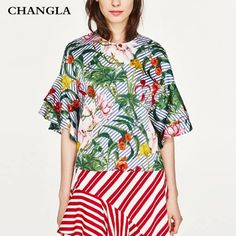 CHANGLA women blouses summer 2017 top dentelle ruffles floral shirt short sleeve blouse ladies tops blusas mujer camisa mujer -- This is an AliExpress affiliate pin.  Details on product can be viewed on AliExpress website by clicking the VISIT button